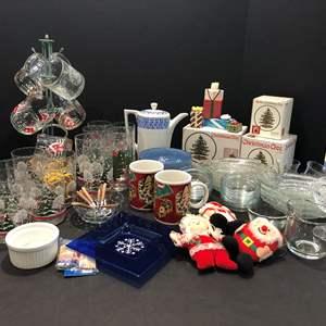 Lot # 203 - Christmas Glasses, Spode, Decor, Glass Fish Plates, Christmas Starbucks Mugs