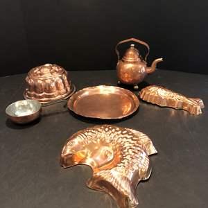 Lot # 206 - Copper Items: Tea Pot, Molds, Platter & More..