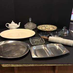 Lot # 207 - Cordon Bleu Elephant Tea Pot, Princess House Butter Dish, Serving Dishes & More..