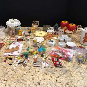 Lot # 215 - Selection of Miniature Accessories, Chairs, Tables, Food & More..