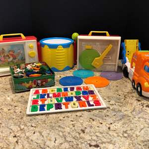Lot # 217 - Fisher Price Music Box Record Player, Fisher Price TV, Little Tikes Drums & Wood Toy Set