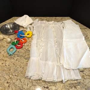 Lot # 218 - Cute Vintage Christening Gown & Vintage Toys