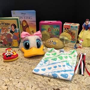 Lot # 219 - Disney Items: Little Mermaid Lunch Box, Books, Hats & More..