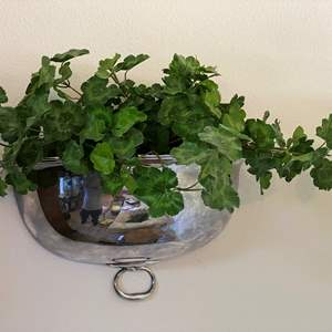 Lot # 3 - Silver Plated Platter Cover Converted into a Wall Hanging w/Faux Plant