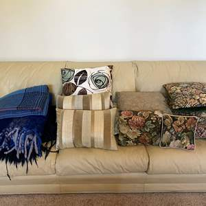 Lot # 8 - Variety of Throw Pillow, 3 Throw Blankets & Bedspread.
