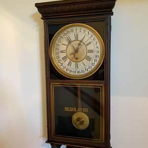"""Lot # 10 - Large Antique """"Sessions Clock Co."""" Calendar Wall Clock - Works"""