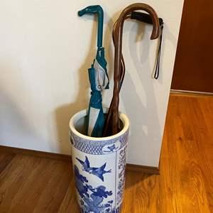 Lot # 15 - Ceramic Asian Style Umbrella Holder w/Canes & Umbrellas