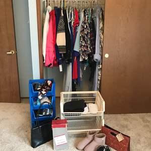 Lot # 41 - Closet Full of Women's Clothing, Some Men's Norwegian Knit Sweaters, Vintage Heels