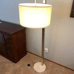"Lot # 18 - Metal Floor Lamp w/Marble Base - 62"" Tall"