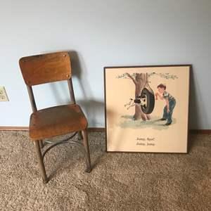 Lot # 42 - Small Child's School Chair, Dick & Spot Print