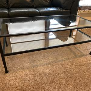 """Lot # 21 - """"Tanner"""" Heavy Wrought Iron & Glass Coffee Table"""