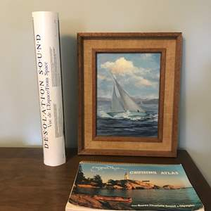 """Lot # 45 - Signed Sail Boat Original Painting, Laminate Print of """"Desolation Sound"""" From Space, Evergreen Pacific Cruising Atlas"""