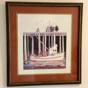 """Lot # 76 - Nice Framed, Signed & Numbered Nautical Print """"The Middleton"""" by Rie Munoz #135/500"""