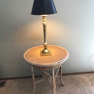 Lot # 51 - Rattan Side Table w/Lamp