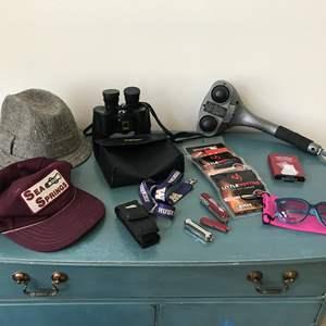 Lot # 61 - Bushnell Binoculars 7x35, Irish Tweed Wool Hat, Back Massager & Roi Bezo Sun Glasses