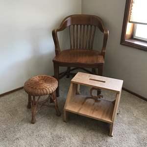 Lot # 63 - Vintage Wood Chair, Rattan Stool & Homemade Step Stool