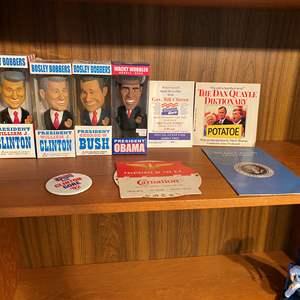 Lot # 80 - Vintage Presidential Bobble Heads & Memorabilia