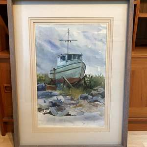 Lot # 95 - Large Framed Original Nautical Watercolor by Local Artist K.Graves