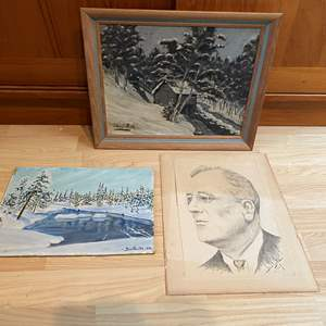 Lot # 97 - Original Sketch of Franklin Roosevelt & Two Canvas Paintings by Ben Ryste all of Various Sizes
