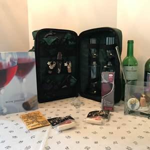 Lot # 72 - Portable Wine Bar, Wine Bottles, Wine Journal, Wine Stoppers & More..