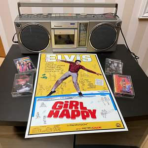 Lot # 107 - Vintage Panasonic Boombox Tape Player, Elvis Tin Sign & 4 Cassette Tapes
