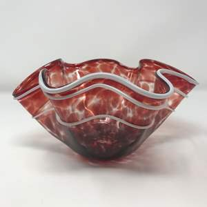 Lot # 130 - Beautiful Hand Blown Glass Bowl - Signed & Dated
