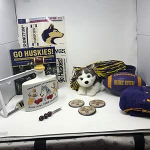 Lot # 197 - Husky Fever: Book, Football, Pompoms, Stuffed Dog, Buttons, Decanter & More..