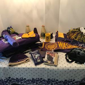 Lot # 198 - Husky Items: Vintage Pennant, Stool, Seats, Table, Pompoms & Much More..