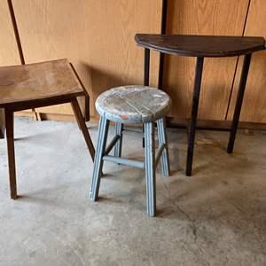 Lot # 176 - Vintage Drop Leaf Table, Vintage Wall Hugging Table, Vintage Stool