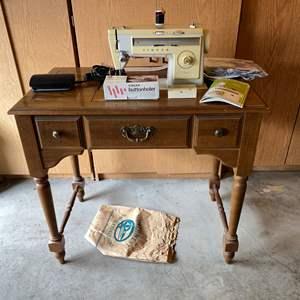 Lot # 178 - Vintage Singer Stylist 513 Sewing Machine w/Cabinet & Accessories - Works