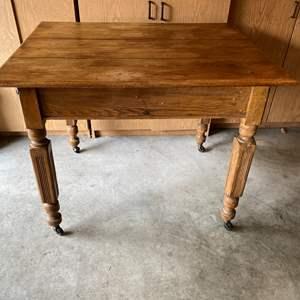 Lot # 180 - Antique Oak Table on Casters