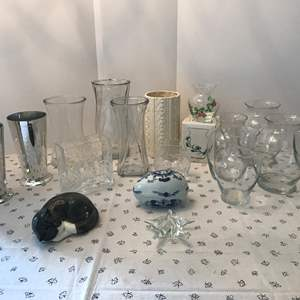Lot # 157 - Selection of Vases, Ceramic Cat, Decorative Egg, Vases, Beautiful Starfish Paperweight & More..