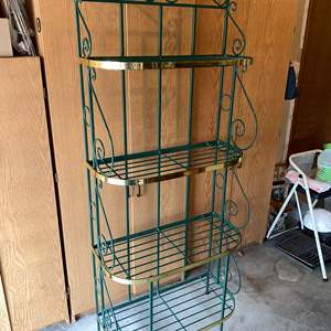 Lot # 182 - Green Wrought Iron Bakers Rack