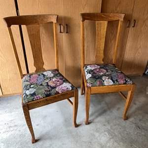 Lot # 184 - Two Antique Oak Chairs