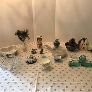 Lot # 160 - Odd & Ends Items: Vase Full of Marbles, Asian Sauce Dishes, Owl, Pewter Items, Cordon Bleu France Strainer & More..