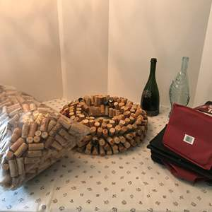 Lot # 161 - Wine Items: Cork Wreath, Bag of Corks, Wine Sacks & Bottles
