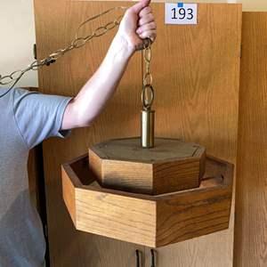 Lot # 195 - Vintage Oak Swag Lamp - Works