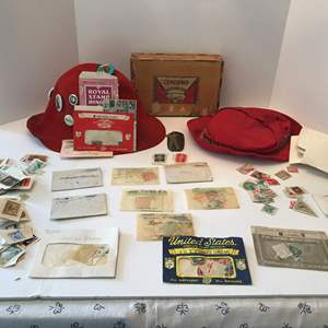 Lot # 162 - Two Vintage Hats, Collector Pins, Stamps & More..