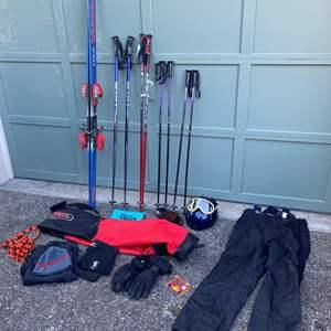 Lot # 231 - K2 USA ME Team Skis, New Scott Ski Polls, Ski Carrying Bag, Helmet, Gloves & Ski Pants