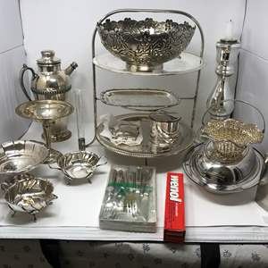 Lot # 166 - Silver Plated Items: Flask, Serving Bowls, Trays & More..