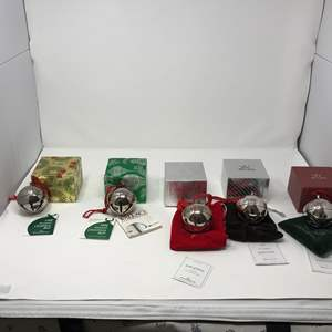 Lot # 167 - Five Wallace Silver Plated Yearly Christmas Bell Ornaments: 1988, 1990, 2000, 2007 & 2009