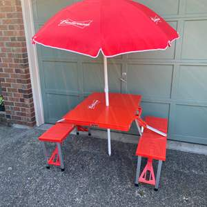 Lot # 236 - Portable Folding Budweiser Picnic Table & Umbrella