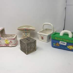 Lot # 169 - Vintage Baby Vases, One Music Box (Works), Bank, Basket & My 1st Tackle Box
