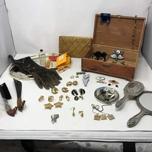 Lot # 170 - Vintage Sterling Jewelry & More: Trifari, Norway Sterling, Vanity Mirror, Wood Box, Purse & Costume Jewelry