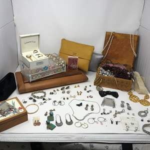 Lot # 171 - More Jewelry Items: Sterling, Vintage Pearls, Costume Jewelry, Wood Boxes & Bags