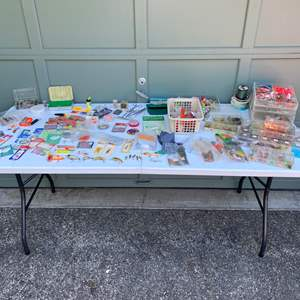 Lot # 241 - Fishing Tackle: Flies, Fly Tying Supplies, Vintage Lures, Fishing Line, Okie Drifters, New Hooks & More..