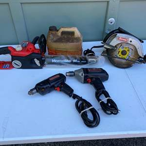 Lot # 250 - Power Tools: Two Craftsman Drills, Craftsman Circular Saw, Homelite Electric Chainsaw