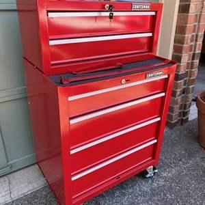 Lot #254 - Two Piece 6 Drawer Locking Craftsman Rolling Tool Box