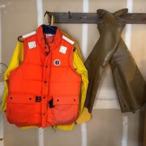 Lot #290 - Floatation Vest, Columbia Rain Coat & Waders
