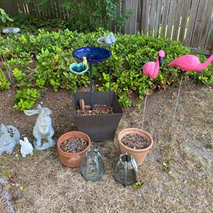 Lot #323 - Cement Bunnies, Plastic Flamingos & More..
